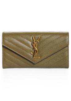 Women's Saint Laurent Monogramme Logo Leather Flap Wallet - Green
