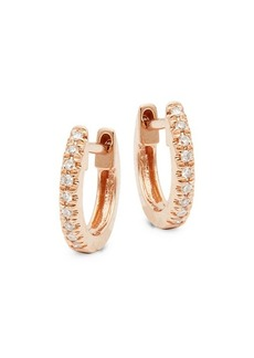 Saks Fifth Avenue 14K Rose Gold & Diamond Huggie Earrings