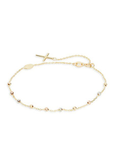 Saks Fifth Avenue 14K Tri-Tone Gold Rosary Bracelet