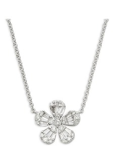Saks Fifth Avenue 14K White Gold & Diamond Floral Pendant Necklace
