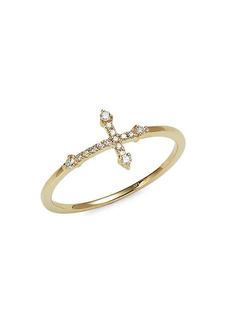 Saks Fifth Avenue 14K Yellow Gold & Diamond Cross Ring