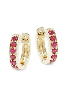 Saks Fifth Avenue 14K Yellow Gold & Ruby Huggie Earrings