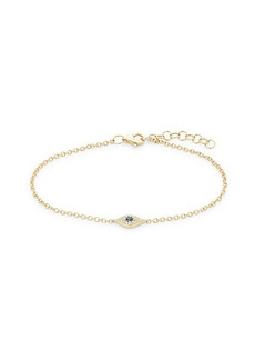Saks Fifth Avenue 14K Yellow Gold, Diamond & Blue Sapphire Evil Eye Bracelet