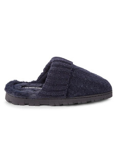 Saks Fifth Avenue Gwyneth Cable Knit & Faux Fur Open-Back Slippers