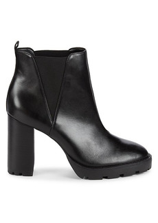 Saks Fifth Avenue Stacked Heel Leather Chelsea Lug Booties