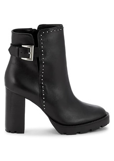 Saks Fifth Avenue Studded & Buckled Leather Booties