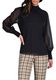 Sanctuary Carrie Flocked Dot Long Sleeve Top