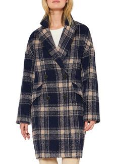 Sanctuary Plaid Double Breasted Coat