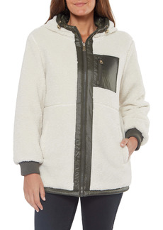 Sanctuary Reversible Faux Shearling Water Resistant Hooded Jacket