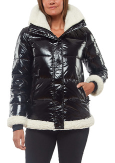 Sanctuary Water Resistant Down & Feather Puffer Jacket with Faux Shearling Trim