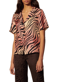 sandro Animal Print Short Sleeve Silk Button-Up Shirt