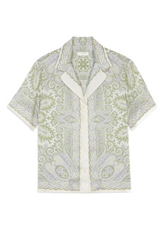 sandro Border Print Short Sleeve Button-Up Shirt
