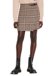 sandro Buckle Detail Tweed Skirt