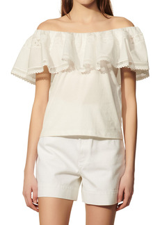 sandro Mauve Ruffle Off the Shoulder Top