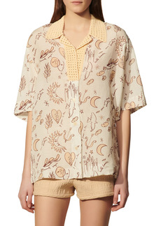sandro Nicole Print Crochet Short Sleeve Button-Up Shirt