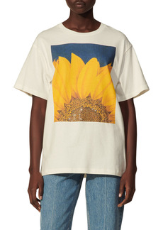 sandro Tournesol Embellished Sunflower Oversize Graphic Tee