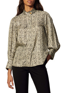 sandro Wave Pattern Silk Shirt