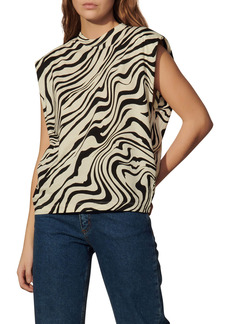sandro Zebra Print Sleeveless Blouse