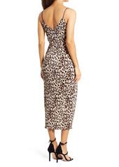 Saylor Addilyn Animal Print Faux Wrap Dress