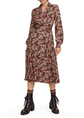 Scotch & Soda Floral Long Sleeve Wrap Midi Dress