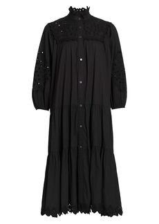 Sea Eyelet Button Down Midi Dress