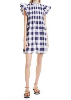 Women's Sea Gingham Cotton Pinafore Minidress