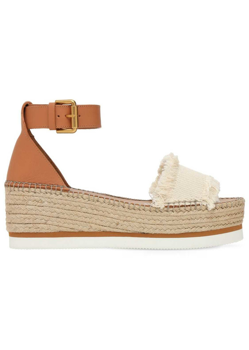 See by Chloé 80mm Glyn Leather & Cotton Wedges
