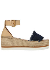See by Chloé 80mm Glyn Leather & Denim Wedges