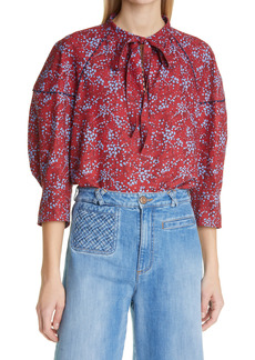 See by Chloé Floral Sweetheart Tie Neck Crepe Blouse