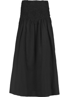 See By Chloé Woman Crocheted Lace-paneled Cotton-voile Maxi Skirt Black