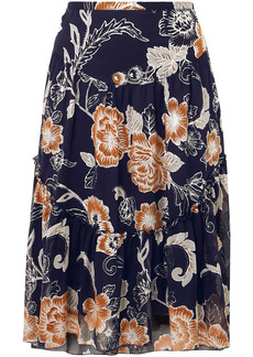 See By Chloé Woman Floral-print Silk And Cotton-blend Crepon Skirt Midnight Blue