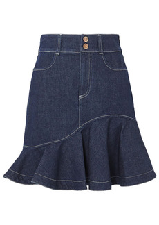 See By Chloé Woman Fluted Denim Mini Skirt Mid Denim