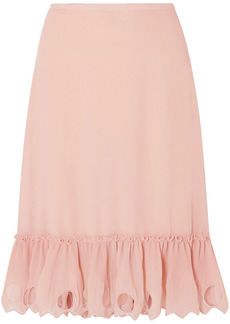 See By Chloé Woman Ruffled Plissé-trimmed Georgette Skirt Blush