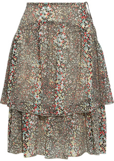 See By Chloé Woman Tiered Printed Cotton And Silk-blend Georgette Skirt Multicolor
