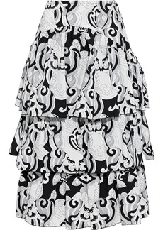 See By Chloé Woman Tiered Printed Cotton-poplin Midi Skirt Black