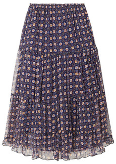 See By Chloé Woman Tiered Printed Silk-georgette Midi Skirt Navy