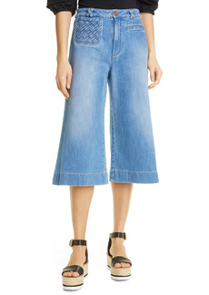 See by Chloé Women's See By Chloe Signature Braided Pocket Denim Culottes