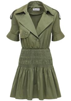 Self Portrait Organic Cotton Twill Trench Mini Dress