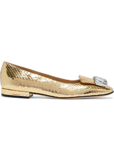 Sergio Rossi Woman Crystal-embellished Metallic Snake-effect Leather Ballet Flats Gold