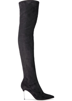 Sergio Rossi Woman Godiva Steel Stretch-suede Over-the-knee Boots Black