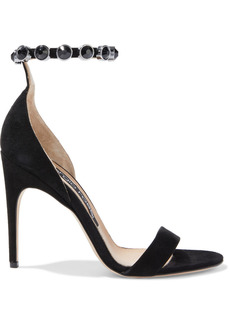 Sergio Rossi Woman Sr Crystal Moon Embellished Suede Sandals Black