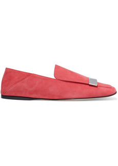 Sergio Rossi Woman Sr1 Embellished Suede Collapsible-heel Loafers Coral