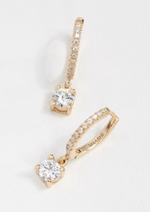 Shashi Solitaire Pave Huggie Earrings