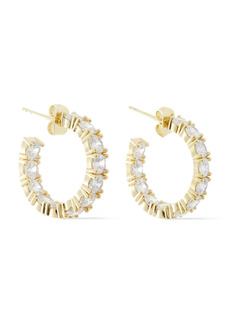 Shashi Woman Babe 18-karat Gold-plated Crystal Hoop Earrings Gold