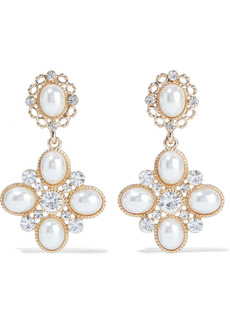 Shashi Woman Empress 18-karat Gold-plated Faux Pearl And Crystal Earrings Ivory