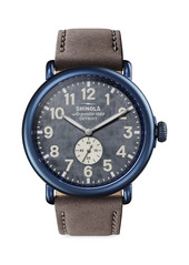 Shinola Runwell PVD Leather-Strap Watch