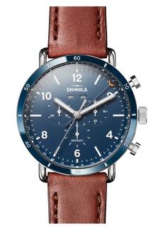 Shinola Canfield Chronograph Leather Strap Watch, 45mm