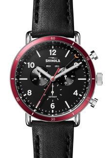 Shinola Canfield Sport Chronograph Leather Strap Watch, 45mm