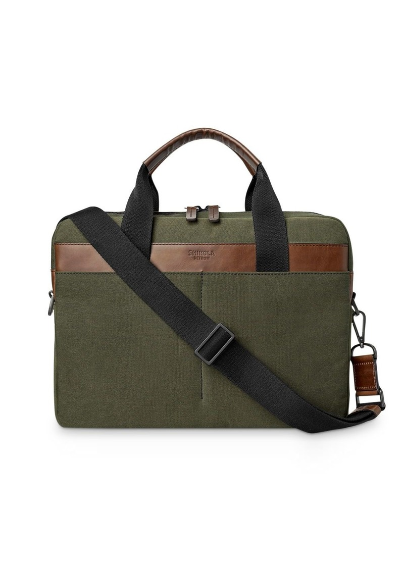 Shinola Mack Leather Trimmed Briefcase