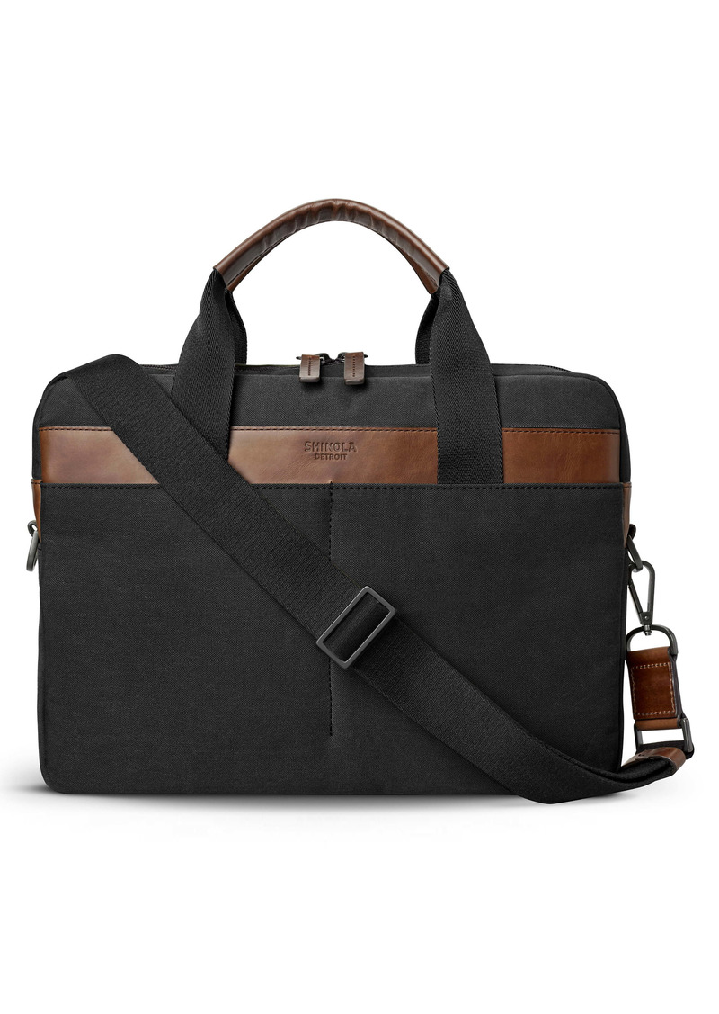Shinola Mack Waxed Canvas Briefcase